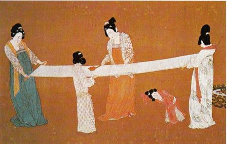 唐朝 穿短襦,高腰长裙的宫廷妇女